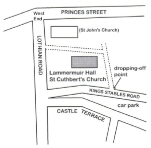 A map of St Cuthbert's Church and Lammermuir Hall